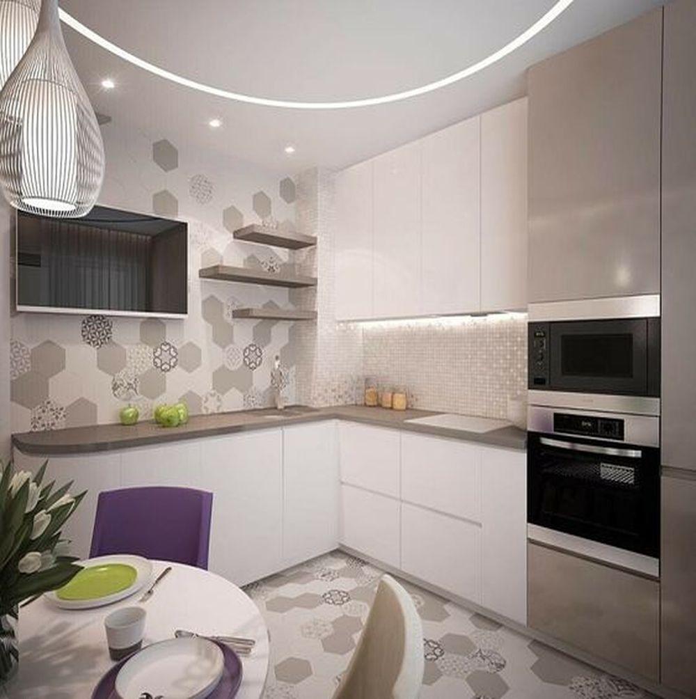 Угловая кухня с телевизором